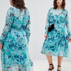 New ASOS x JUNAROSE Floral Chiffon Midi Dress